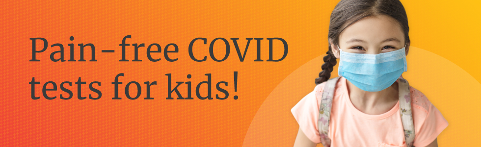 pain free kid-friendly covid tests with young girl happy wearing a face mask
